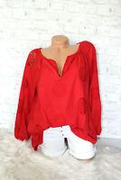 Italy Shirt Tunika Bluse Lochstickerei rot Gr. 36 38 40 42 blogger Boho Style