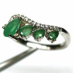 NATURAL GREEN EMERALD & WHITE CZ RING 925 STERLING SILVER SIZE 6.75