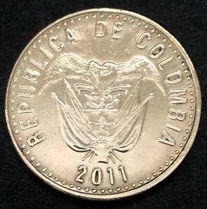 2011 COLOMBIA 100 PESOS CIRCULATED COIN COLECTORS GREAT CONDITION.