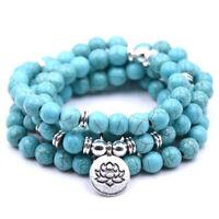 108 Buddha Lotus Beads Turquoise Bracelet Prayer Meditation Mala Necklace Gift