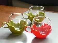 3 Vintage Pyrex Drinkups Roly Poly Cups with Plastic Holders Red Green MCM