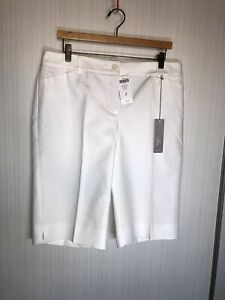 NWT Chico's Size 2 So Slimming White Denim The ultimate fit Bermuda shorts