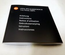 Leica APO Summicron-M 75mm f2 Aspherical lens Guide Instruction Manual EN FR ES