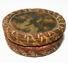 RARE VINT WABANAKI NORTHEAST SWEET GRASS DEC SM SEWING BASKET, PRINTED LID/LINER