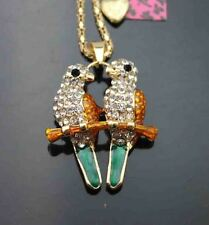 D642Y   Betsey Johnson Crystal Enamel Lovely small bird Pendant Sweater Necklace
