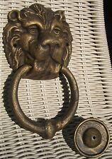 Türklopfer Löwenkopf, schwarz goldfarben, Metallguss, rar, 21x12x5cm