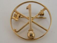 Hole In One Brooch 9K Solid Gold Vintage Golfing