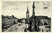 Olomouc Ölmütz  s/w AK 1935 Blick auf den Masarykplatz Dreifaltigkeitssäule