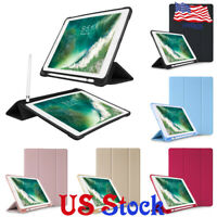 Slim PU Leather Smart Stand Shockproof TPU Case With Pencil Holder For Ipad Case