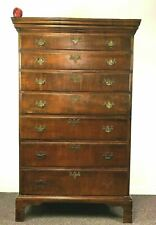 Tall 18th Century New England 7 Graduated Drawer Chippendale Tiger Maple Chest