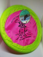 "Pet Trends Soft Flying Nylon Disc Dog Toy 10"" diameter NEW Neon pink/green NWT"