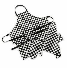 MAD ABOUT COOKING 3 PIECE CHEF SET BLACK WHITE CHECKED APRON TEA TOWEL GAUNTLET