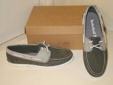 Timberland Brig 2 Eye Leather Nubuck Gray Coal Slip On Boat Deck Shoes Mens 10.5