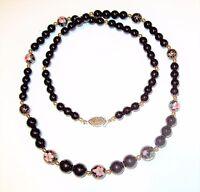 "Vtg 29"" Black Onyx Cloisonne Enamel Graduated Bead Necklace Pink Flower Green"