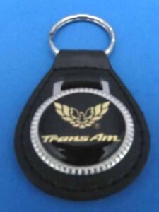 PONTIAC TRANS AM LEATHER KEYCHAIN KEY CHAIN RING FOB #031 GOLD