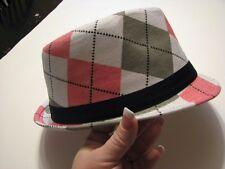 Pink argyle rock fedora hat boys girls infant toddler child infant  to 6 yrs