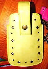NWT XHILARATION  YELLOW PULL UP CASE COVER POUCH SLEEVE SKIN FOR MOBILE PHONES
