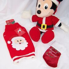 "Small Dog Santa Sweater,Mini Stocking.Mickey Mouse Christmas Santa 18"" Plush,"