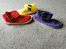 Handmade Slippers, crocheted to flipflop soles
