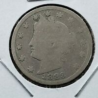 1883 P Liberty Head V Nickel 5c With Cents Variety CH AG / Good Full Date