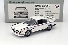 MODEL DIECAST Minichamps 1:18 BMW 3.0 CSL e9 Coupe 1975 White w/ stripes