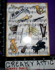 MUSIC SHEET INSTRUMENTS PIANO HORNS HARP DRUM RUBBER STAMP STAMPENDOUS R069