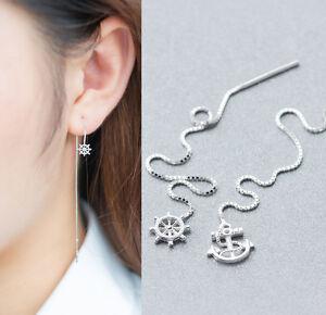 B Ware: Damen Ohrringe Durchzieher Maritim echt Silber 925 Anker Steuerrad