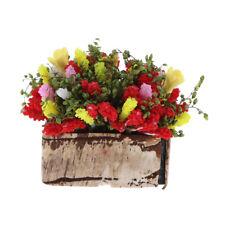 1/12 Dollhouse miniature multicolor flower bush with wood pot Gx