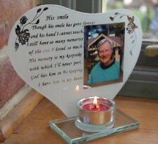 Son sourire Memorial poème Photo verre gravé souvenir plaque bougeoir