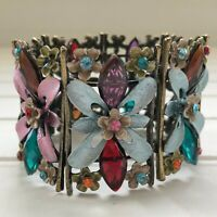 Vintage Floral Rhinestone Jeweled Cuff Bracelet Bangle Hinged Pink Blue Red