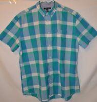 Tommy Hilfiger Button Down Short Sleeve Dress Shirt Checkered XL Teal Blue Green