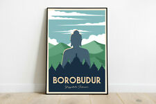 Borobudur travel poster, Borubudur retro print, Indonesia vintage travel print