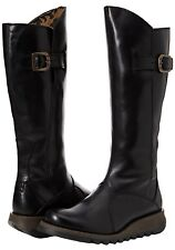 Women's Fly London MOL 2 Knee High Low Heel Leather Biker Boots Size 6 BNIB+