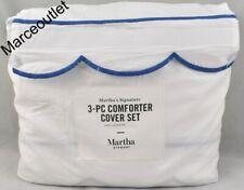 Martha Stewart Signature Scallop Full / Queen Duvet Cover & Shams Set Blue