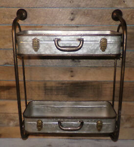 Corrugated Metal Container Wall Shelf Double Suitcase Style Storage Bins Shelves