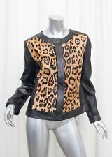 ESCADA Womens Black Leather Calf Hair Leopard Print Jacket Coat 40/8 M