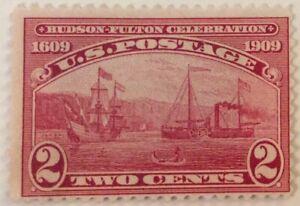 1909 2c Half Moon & Clermont commemorative single, Scott #372, MNG, Fine