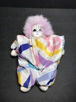 "Vintage Q-Tee 1987 Handpainted Clown Sand Doll Thailand 8"""