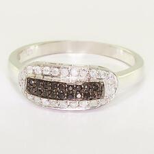 Black White Diamond Right Hand Ring Dazzling Ladies 10K White Gold Round
