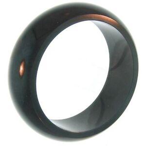 One-Piece Half-Round Black Nephrite Jade Bangle Bracelet (2352B1)