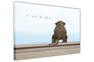 Elephant At The Seaside on Framed Canvas Wall Art Prints Decor Animal Pictures