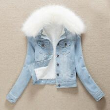 Women Fleece Lining Sherpa Denim Jacket Ladies Faux Fur Collar Top Coat Slim Fit