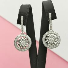 2.75 CT 14K White Gold F VVS2 Diamond Dangle Earrings Round Cut