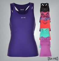 Ladies Branded USA Pro Lightweight Sleeveless Pro Racer Vest Gym Top Size 6-18