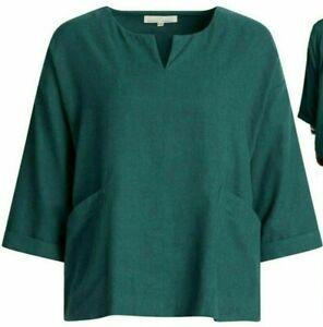 NEW SEASALT Emerald Green Carlyon Bay Cotton Linen Top Shirt Blouse  8/18 £16.95