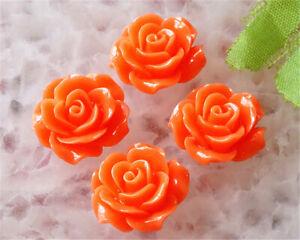 K17335 4pcs 20mm Orange Tridacna Handmade Flower Pendant Bead