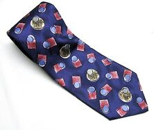 DAVID CRYSTAL BLUE With RED  NECK TIE Geometric MADE IN USA! Necktie Dots Square