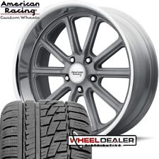 17x7-17x8 AMERICAN RACING VN507 RODDER WHEELS W/ TIRES FOR 1967 1968 1969 CAMARO
