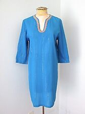 VGC Lilly Pulitzer Blue Gold Metallic Stripe Sarasota Tunic India Top Cover-Up M