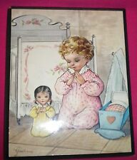 Guilianno - Picture On Wooden Backing. Big Sister, Little Sister Praying.